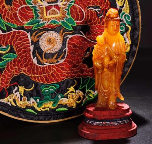 A SOAPSTONE CARVED SONGZI GUANYIN BUDDHA