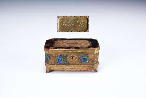 銅燒藍亭台樓閣紋蓋盒