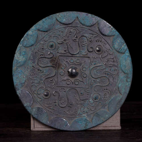 OLD BRONZE MIRROR