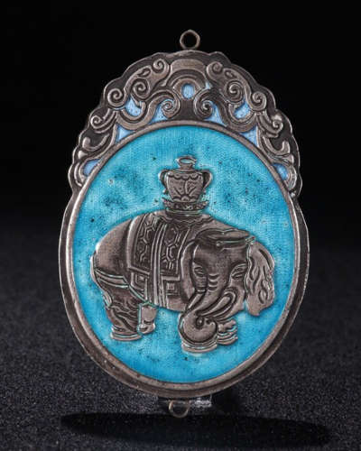 SILVER BURNING BLUE TAIPING YOU XIANG PENDANT