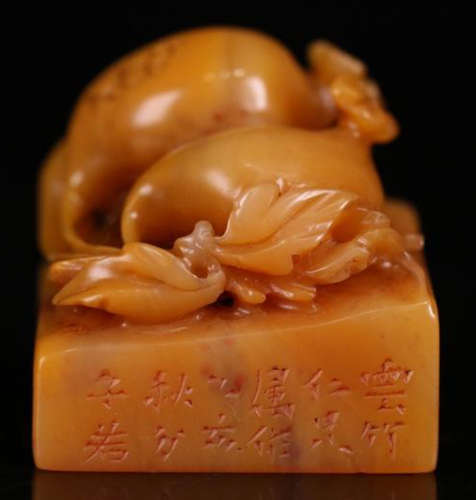 A TIANHUANG STONE CARVED POMEGRANATE SEAL