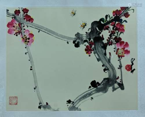趙少昂 花卉蜜蜂 紙本 鏡片
