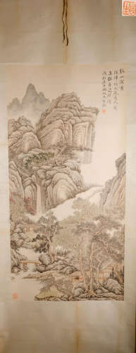 A CHAOYAN FENG PAINTED LANDSCAPE AND CHARACTER VERTICAL AXIS PAINTING