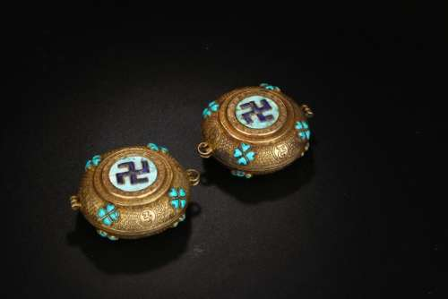 PAIR OF GILT BRONZE & TURQUOISE INLAID BOXES