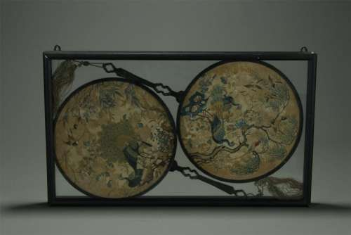 Qing Dynasity , A Pair of Embroidery  Fan